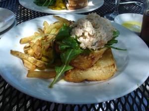 Shrimp Salad Sandwich with Asiago Fries