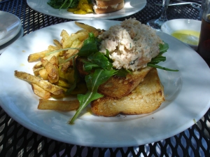 Shrimp Salad Sandwich with Asiago Fries