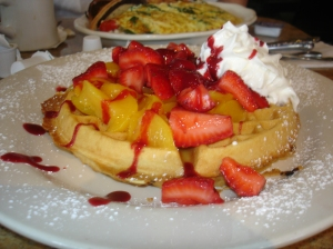 Waffles with Strawberries and Peaches
